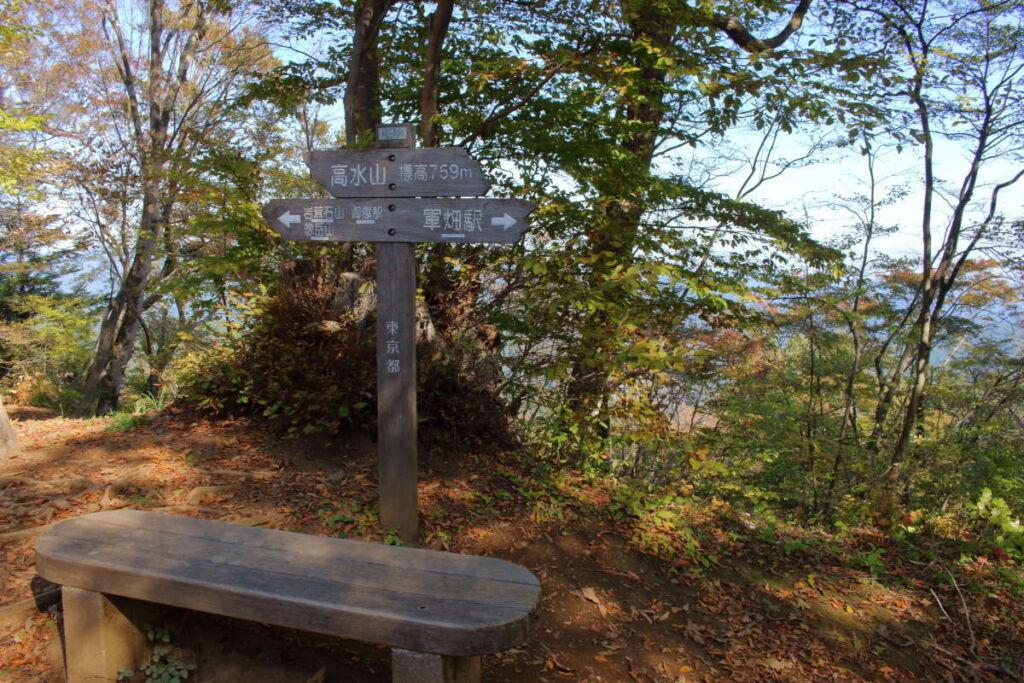 高水山山頂に到着! 眺望はありませんがベンチがあります