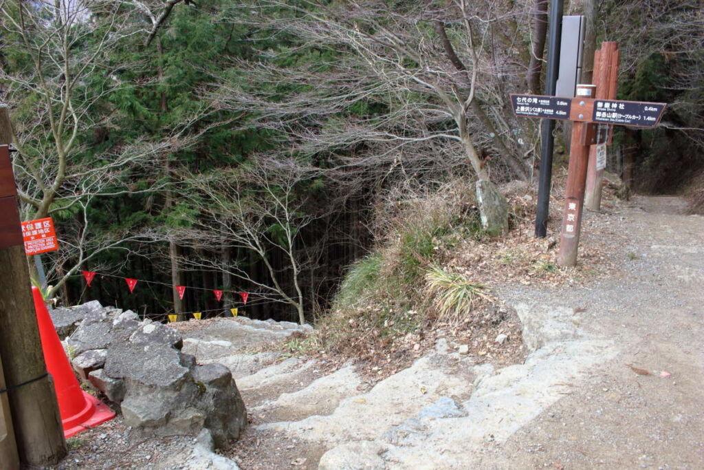 七代の滝への道は急な下り坂