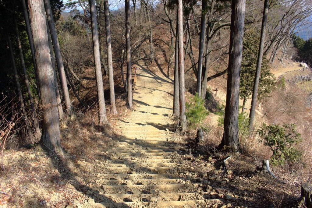 日の出山を下山、山頂直下は歩きやすい階段が続く
