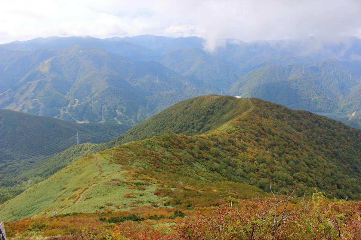立ち止まって振り返る紅葉の稜線の景色がまた良い!
