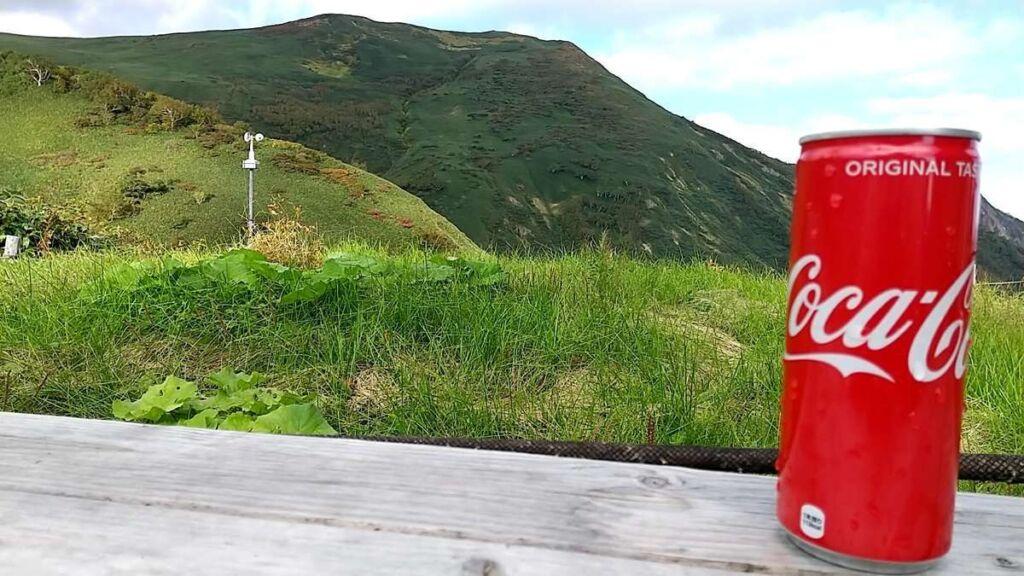 平標山の家でコーラ購入、景色を眺めながら休憩